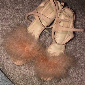 Topshop Pink fur heel sandals Size 8